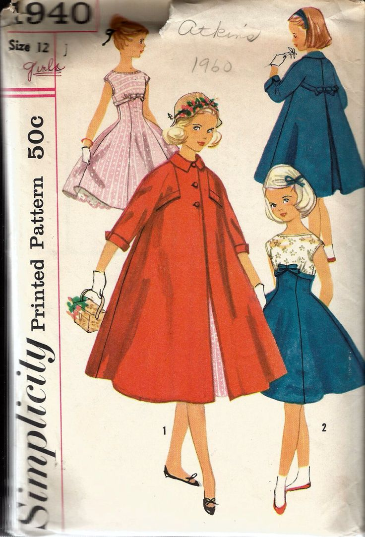 """Vintage 1956 Simplicity 1940 Girls' One-Piece Dress & Coat Sewing Pattern Size 12 Breast 30"""" by Recycledelic1 on Etsy"""