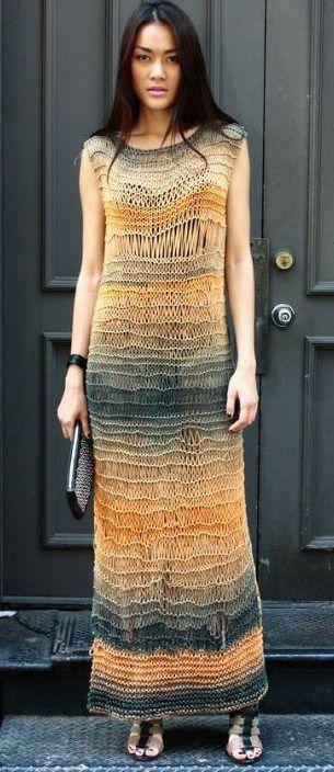 Free knitting pattern for Brigitte Dress in drop stitch