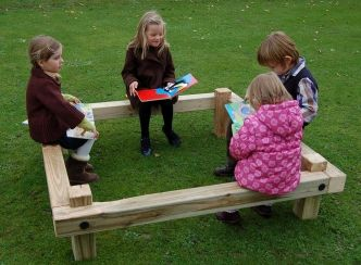 How wonderful! A bench designed to engage children in conversation. Or even having a presence of another nearby and in the fold..