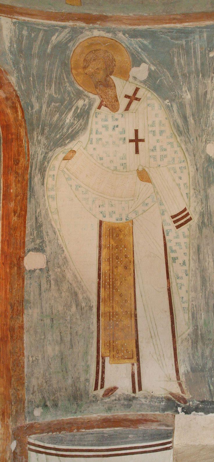Святитель Василий Великий из композиции «Служба святых отец» Разрез по центральному продольному нефу. Вид на юг