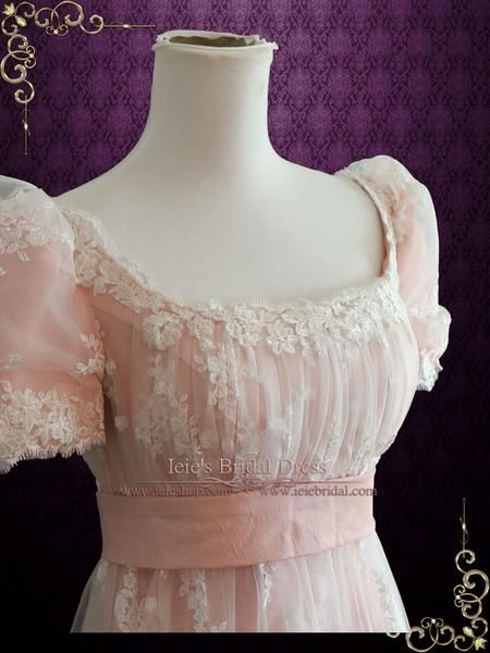 Beautiful lace overlay wedding dress inspired by the regency era. Can also be used as a formal dress for regency ball or special occasion. Photoed in Pink, other colors can be ordered. Working Time: 8