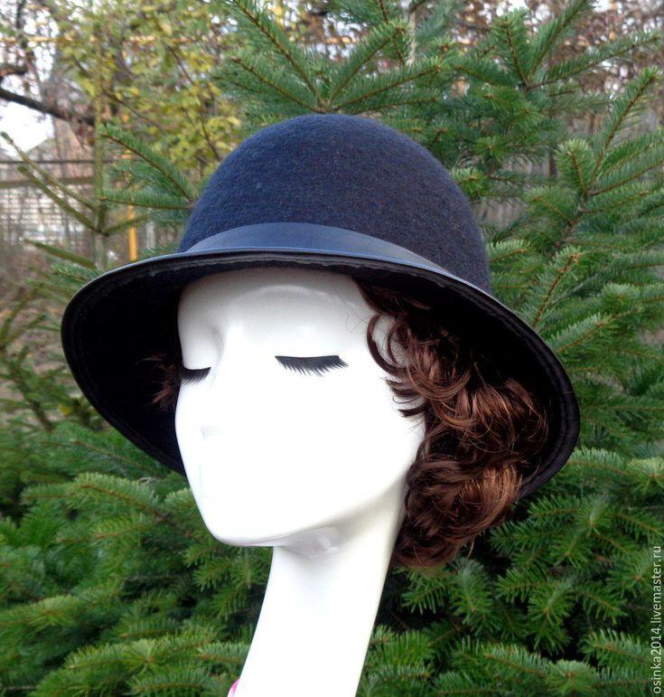 Купить Шляпа женская валяние шерсть - черный, однотонный, купить шляпу, шляпка купить