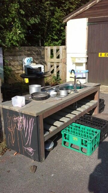 Our new mud kitchen encouraging lots of role-play opportunities with conversations and actions to support their play.