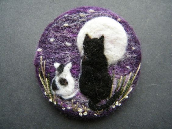 Hand Made Needle Felted Brooch Gift 'Look at The Moon ' by Tracey Dunn: