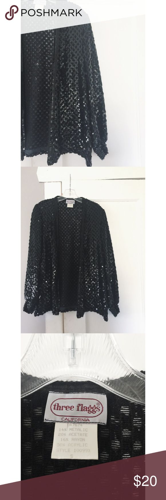 Vintage Sequin Cardigan Vintage Sequin Cardigan, all over black sequins.  Baggy cute fit.  Women's size small. Vintage Sweaters Cardigans