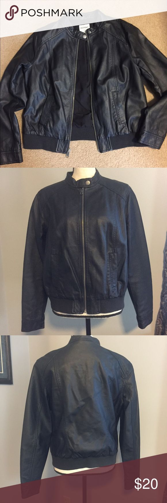 Old Navy faux leather jacket Like new, barely worn. Very soft, looks like real leather. Old Navy Jackets & Coats