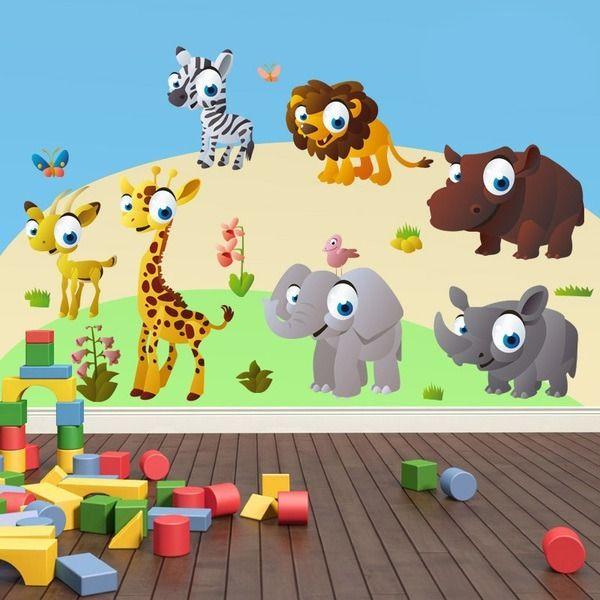 Adesivi per bambini: animali la selva antílope, giraffa, cebra, leone, rinoceronte, ippopotamo e elefante. #adesivimurali #decorazione #modelli #mosaico #savana #StickersMurali