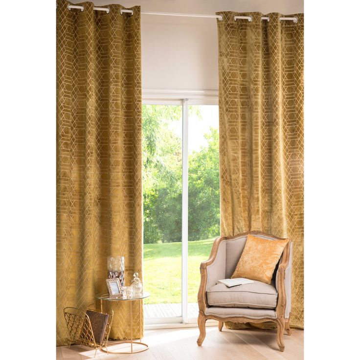 ZOLA graphic mustard yellow eyelet curtain 130 x 300 cm