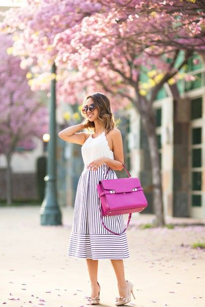 Striped skirt  #skirt #top #shoes