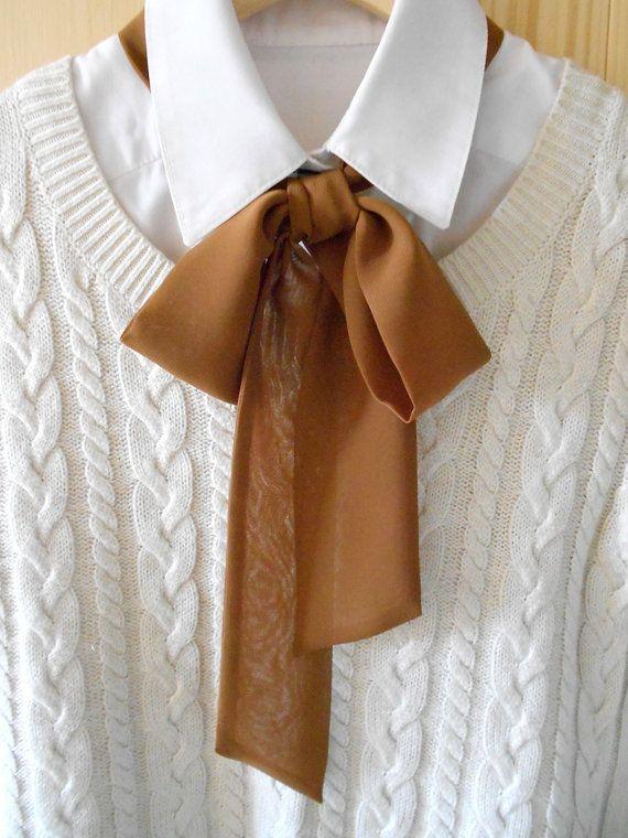 Bufanda moño marrón casual / accesorio del cuello de por BlumArt