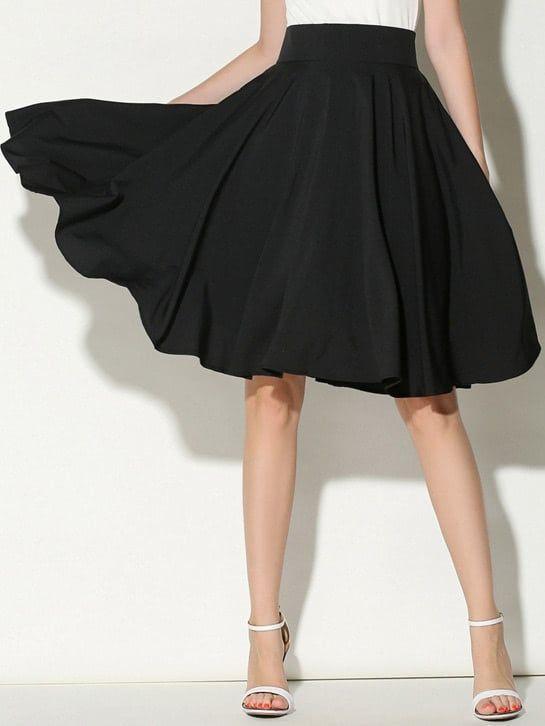 87f3e24d3 Women Casual Plain Flared High Waist Black Midi Length High Waist Pleated  Skirt