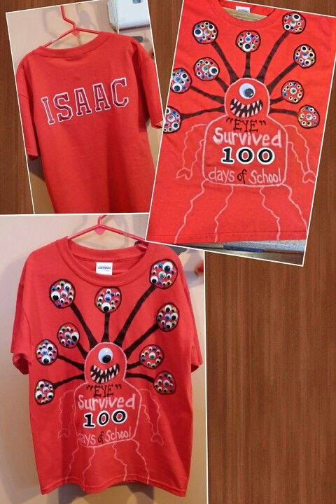 100 Days Of School Monster T Shirt I Made It Has 100 Googley Eyes