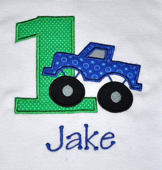 Birthday Boy Outfit - Monogrammed/Personalized First Birthday Monster Truck Appliqued Body Suit, Sizes 12 mo or 18mo