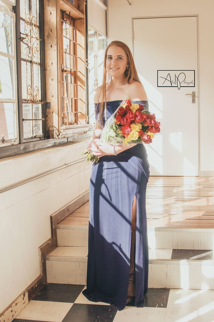 Grey Bloemfontein Matric Farewell Dance '17. This navy dress compliments her red hair so well.