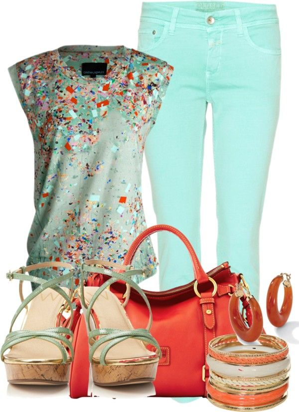 mint and coral orange outfit - great for spring/summer casual & chic