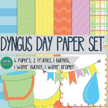 """Dyngus Day Paper SetIncludes:-6 pieces of digital paper-2 frames-1 bunting-1 bucket of water-1 water drop""""Dyngus Day, or Wet Monday (Polish migus-Dingus or lany poniedziaek) is the name for Easter Monday. Historically a Polish tradition, Dyngus Day celebrates the end of the observance of Lent and the joy of Easter."""