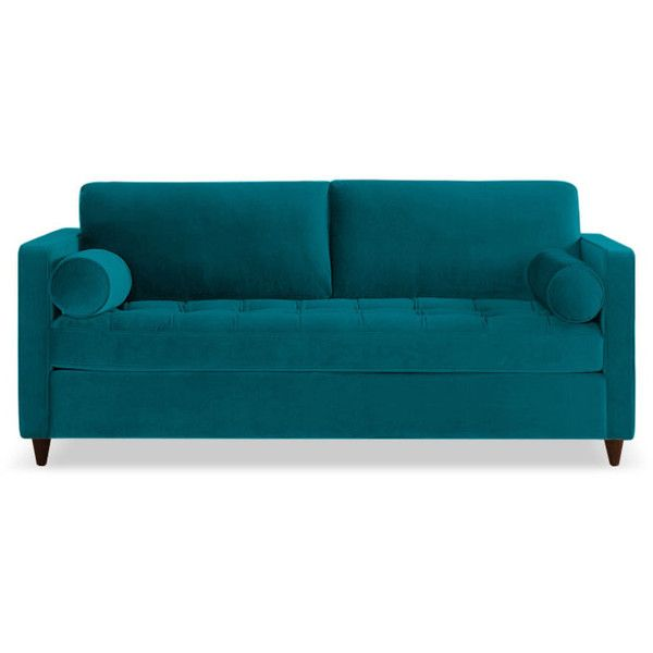 Joybird Briar Mid Century Modern Blue Sleeper Sofa ($1,799) ❤ liked on Polyvore featuring home, furniture, sofas, blue, mid-century modern furniture, blue couch, mid century sofa bed, midcentury modern couch and mid century style sofa