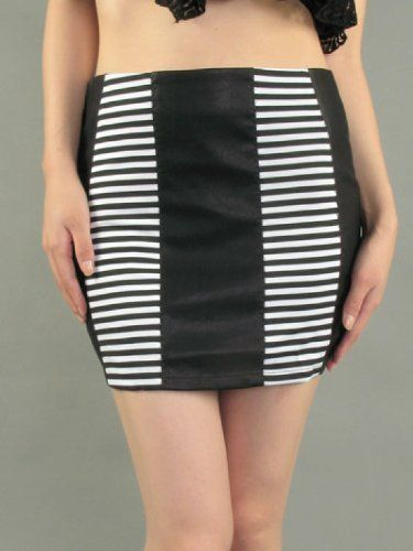 G2 Chic Striped Panel Leather Mini Skirt G2 Chic. $19.93