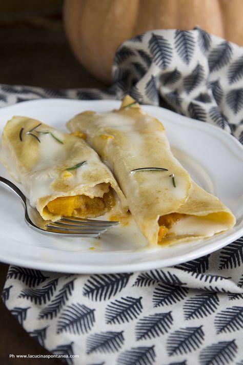 Una volta provate non è più possibile farne a meno: crepes di zucca con fonduta di taleggio. Vieni a scoprire la ricetta.