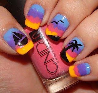 Summer Nails: Nails Art Ideas, Sunsets Nails, Nailart, Beaches Nails Design, Palms Trees, Summer Nails Art, Sunsets Beaches, Beaches Sunsets, Nail Art