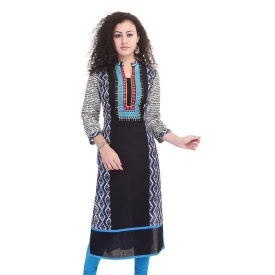 LadyIndia.com # Cotton Kurti, Stylish Cotton Black Blue Kurti For Women, Kurtis, Kurtas, Cotton Kurti, https://ladyindia.com/collections/ethnic-wear/products/stylish-cotton-black-blue-kurti-for-women