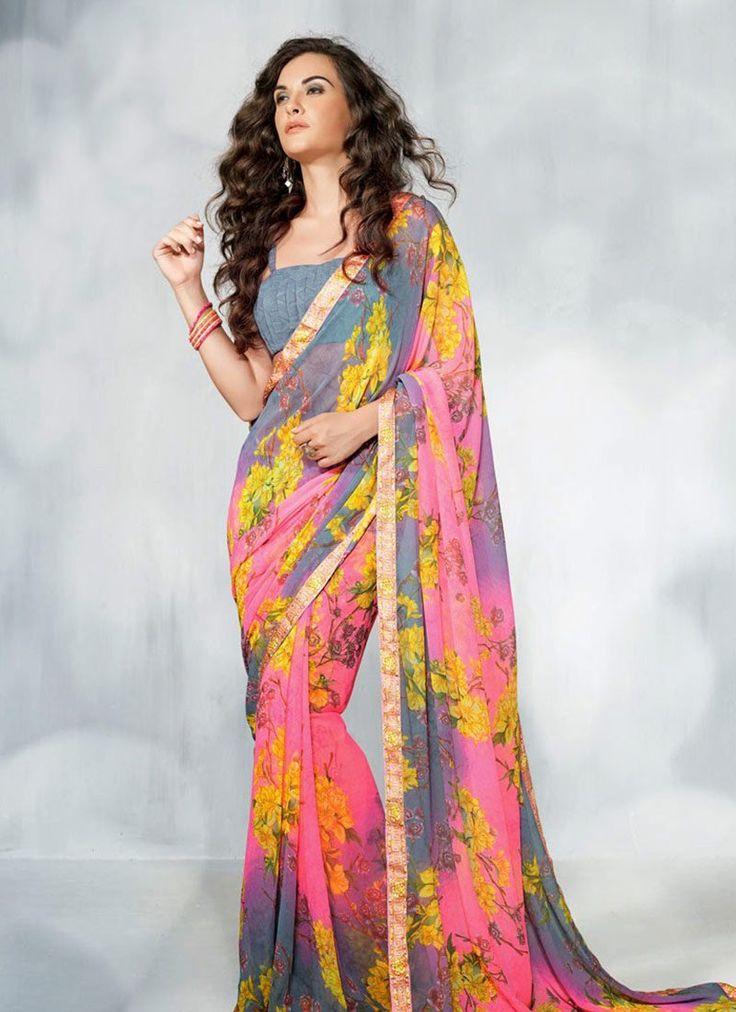 Appealing Look Printed Georgette #Saree