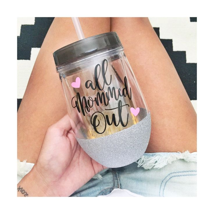 All Mommed Out on a 10oz glitter dipped acrylic wine tumbler. Has a push on lid with sliding sip hole that can also hold a straw (comes with one plastic clear straw). Glitter and wording can be done in color/s of choice. Just specify during checkout in Note to Seller or else it will be done in colors as shown.  Be sure to follow me on Facebook so you will know when I add new items to my store or have discounts/giveaways! Facebook - GlitterSips @GlitterSips - Instagram  Comes from a smoke/pet…