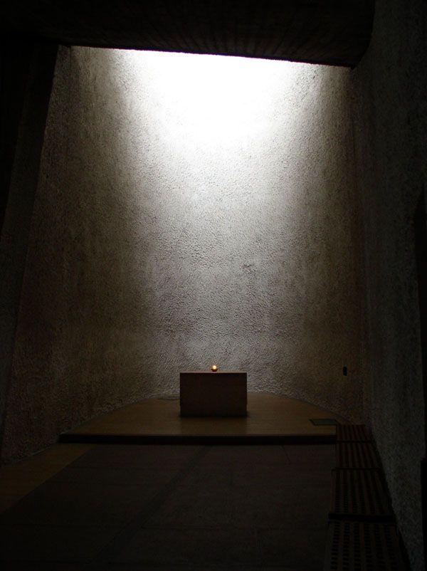 Apse in the Chapel of Notre-Dame-du-Haut at Ronchamps, Le Corbusier 1954.