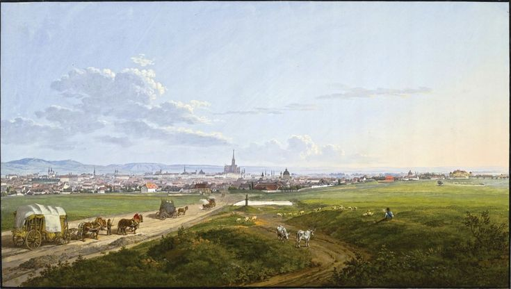 German artist Jakob Alt. Landscape - View of Vienna
