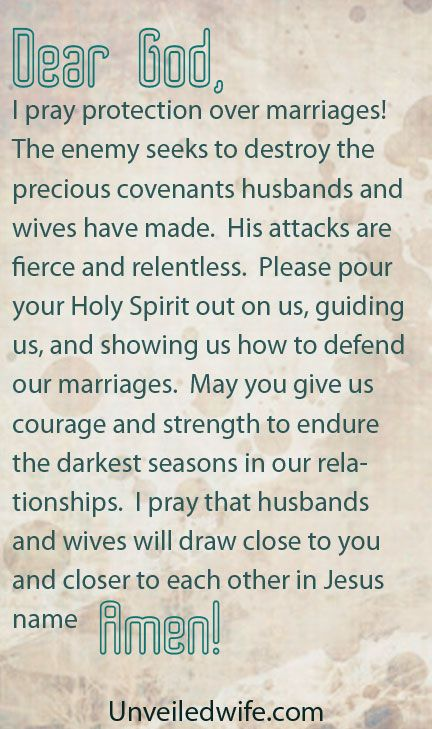 Prayer Of The Day – Protection Over Marriage by @Kristen Mc Elwee Brown Wife It is is very very dark right now...