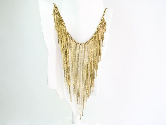 Gold Bib Necklace. A cascading bib of golden metal by SellTheOld