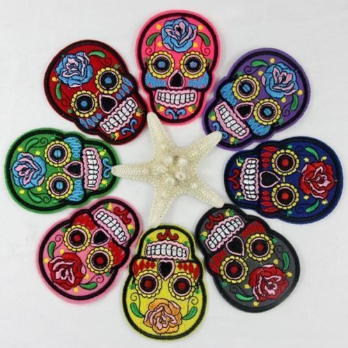 DIY Embroidery Cloth Patch Iron Sew On Badge Skull Rose Clothes Motif Applique #Unbranded