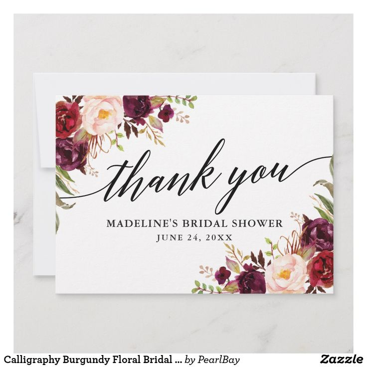 Calligraphy burgundy floral bridal shower thank you card