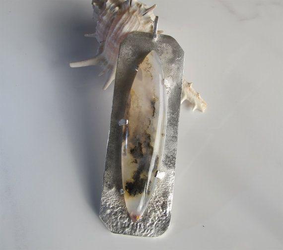 Plume Agate Pendant: Statement Jewelry