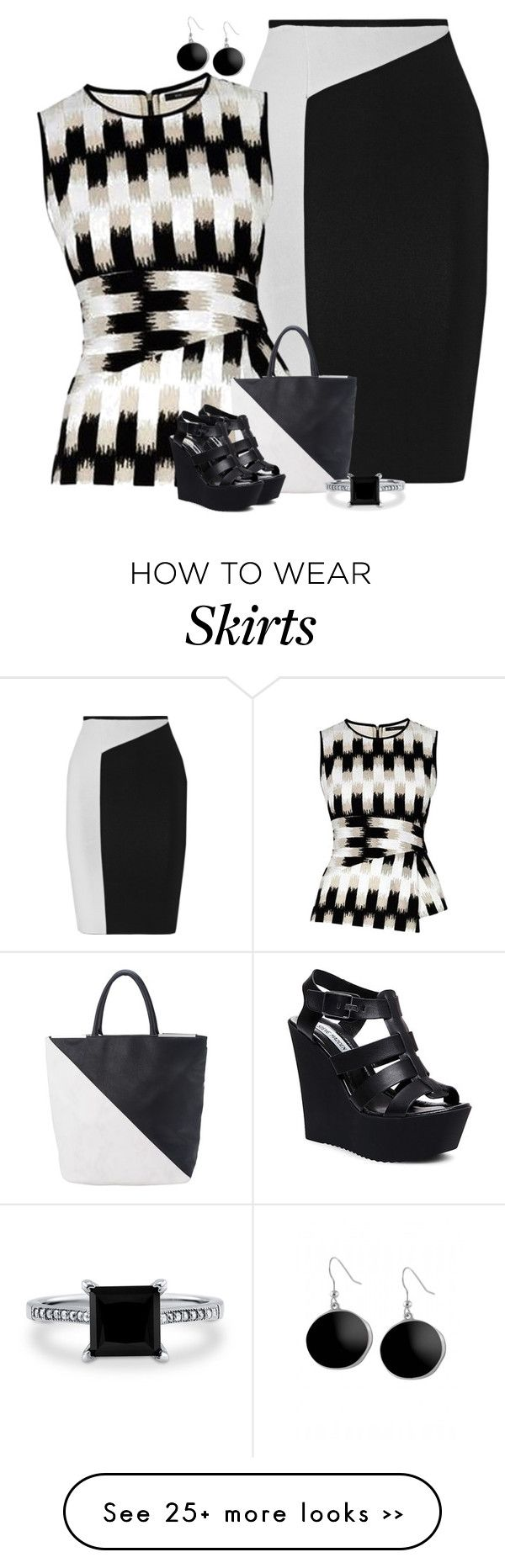 """""""Black & White Color Block"""" by majezy on Polyvore"""