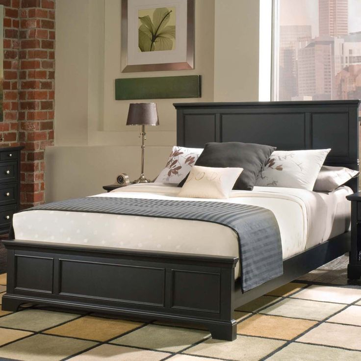 Bedroom. black glaze wooden double bed frame with white bedding set and gray blanket plus high headboard placed on cream ceramic tiled flooring. Entranching Dark Wood Queen Bed Frame Design
