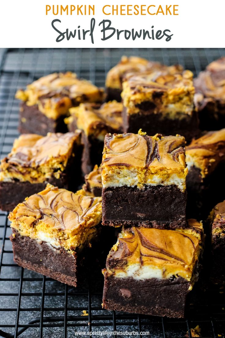 These Pumpkin Cheesecake Swirl Brownies are so decadent! Rich and fudgy browni…