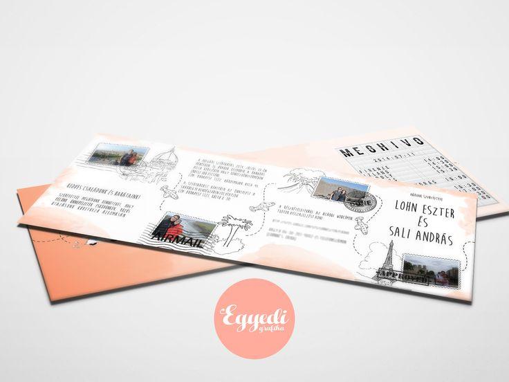 Beszálló kártya stílusú, utazás ihlette, kreatív esküvői meghívó   Boarding card, travel style wedding invitation