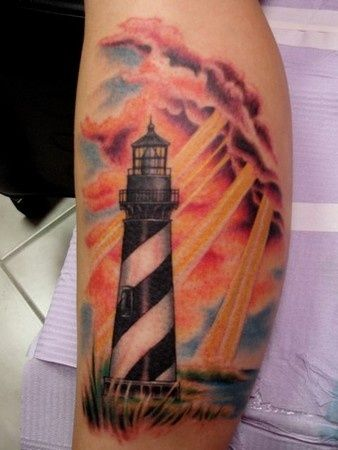 lighthouse tattoo - Google Search  Would want Cape Hatteras lighthouse as part of my ocean piece