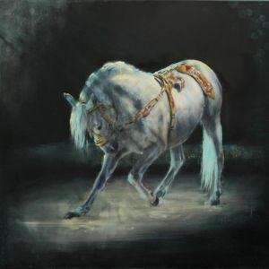 Reverence, circus paard. Lipizzaner schilderij.  Schilderijen - Nanouk Weijnen | Beeldend kunstenares