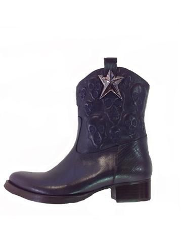 Transcend easily into Spring with these navy cowboy boots in premium embellished leather. These are FABBBB ! Only at www.shoesatgoody2shoes.co.uk