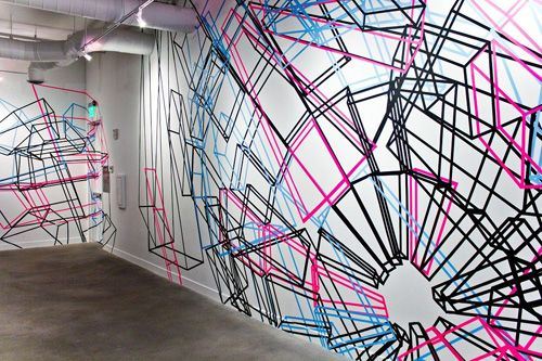 Wall Exploder B, Marius Watz.  I like the process - projections and tape - two faves.