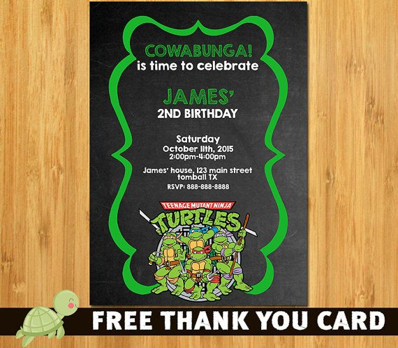 TMNT Invitation Ninja Turtle Invitation Ninja by theTurtleDesign