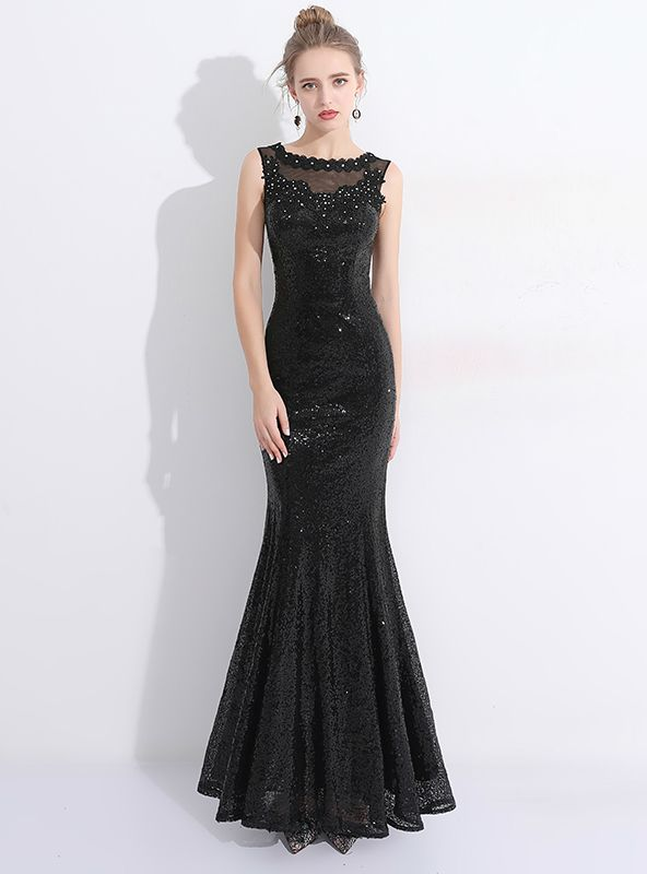 In Stock:Ship in 48 hours Mermaid Black Sequins Lace Prom Dress