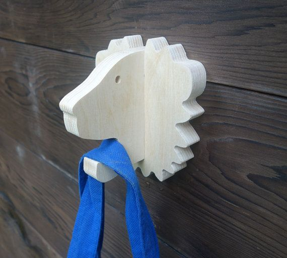 Playful animal wall hook: plywood lion head wall hanger by lxrns
