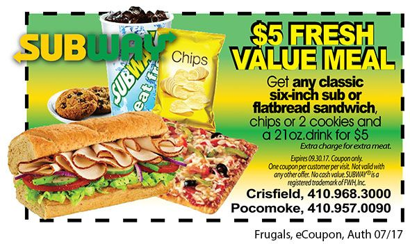Looking for an affordable lunch option that your tastebuds can enjoy? Try a $5 Fresh Value Meal from Subway in Crisfield or Pocomoke, MD! You can't beat this delicious deal! Print out the coupon at www.frugals.biz.