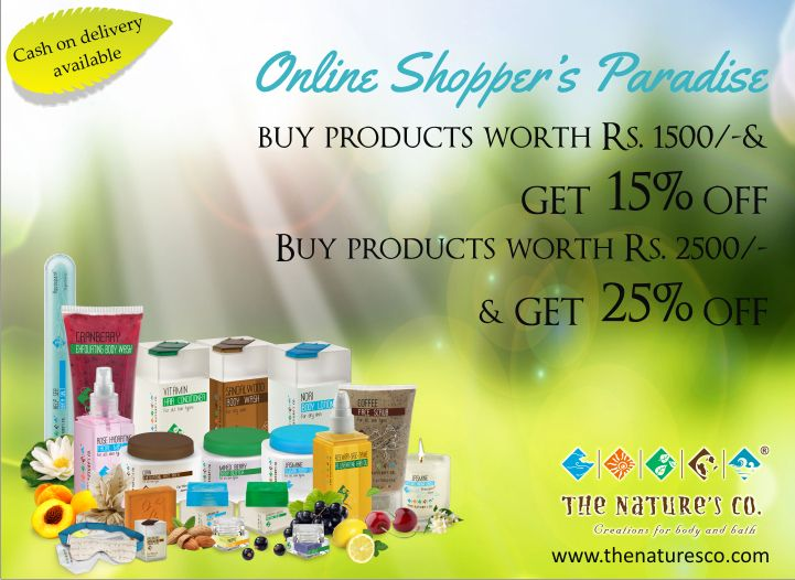 Our online promotion has become better and bigger this year with discounts brimming from 15% for purchases of Rs. 1500 and above & 25% on purchases of Rs. 2500/- and above. Log on to www.thenaturesco.com and start filling ur shopping carts with natural beauty and wellness creations by Mother Nature. COD facility available too. Happy Shopping!!
