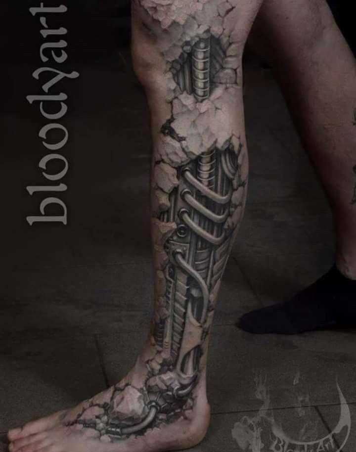 Doudou Biomechanical Tattoo Leg Tattoos Robot Tattoo