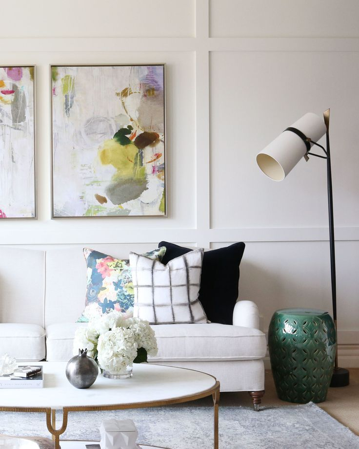 Mixing Styles: Traditional + Modern || Studio McGee Love the pillows and the art