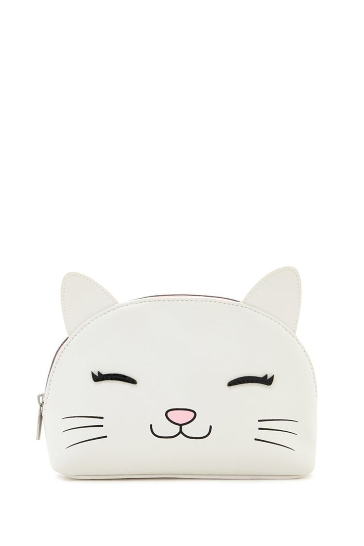 A faux leather bag featuring a happy cat front graphic, protruding ears, and high-polish zip-up top.